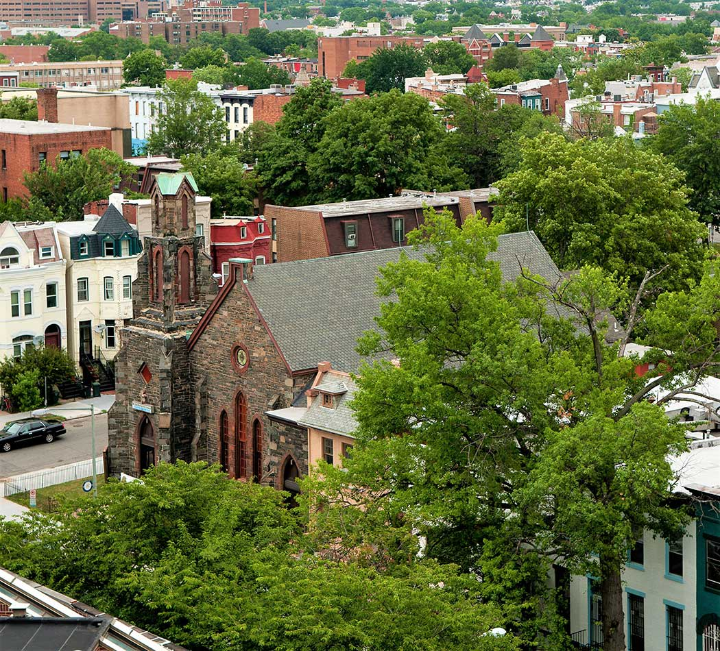 View of historic church from King Towers