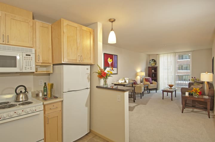 Model kitchen and living room at GenCare LifeStyle at Point Ruston in Tacoma, Washington