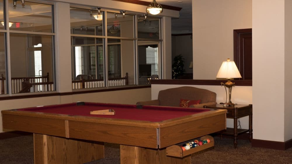 Billiard room at Creekside At Three Rivers Assisted Living in Murfreesboro