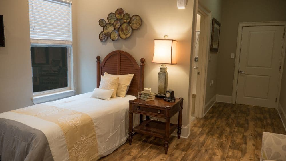 Model bedroom at Creekside At Three Rivers Assisted Living in Murfreesboro