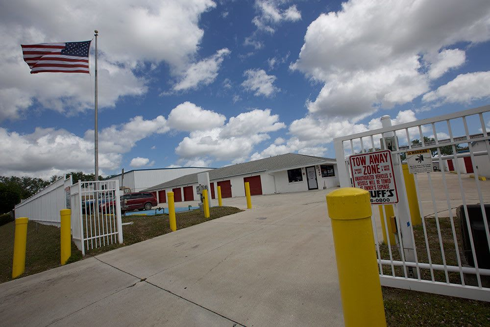 Security gate at main entrance of American Personal Storage in Port St Lucie