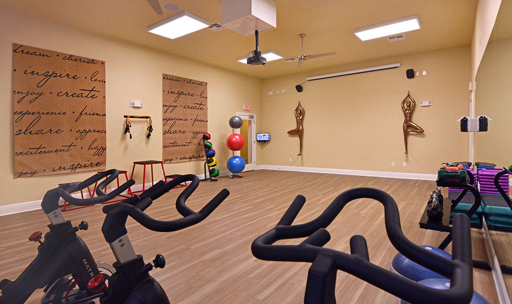 Well-equipped yoga and dance studio at The Gate Apartments in ChampionsGate
