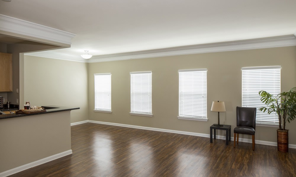 Bright inviting living room at Atkins Circle Apartments