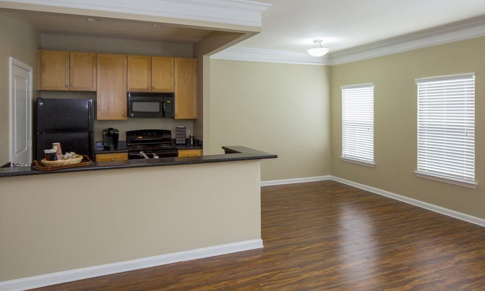 Kitchen and dining room at Atkins Circle Apartments