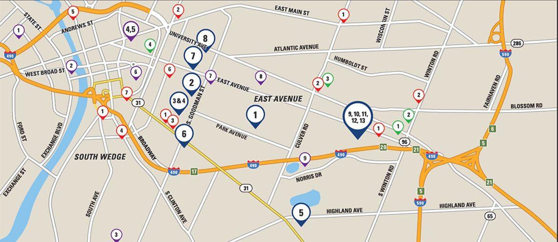 Rochester City Apartments neighborhood map