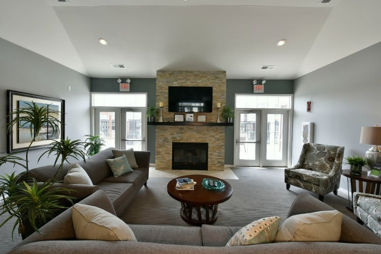 Spacious living room at Overlook Apartments in Elsmere, KY