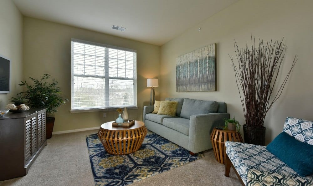 Living room at Overlook Apartments