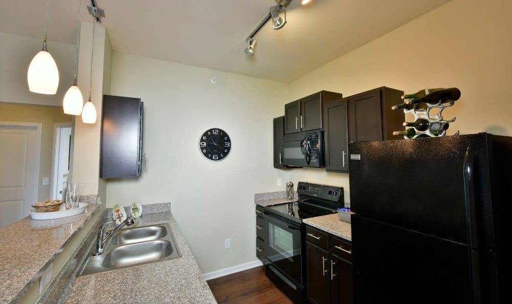 Upgraded and modern kitchen at Overlook Apartments