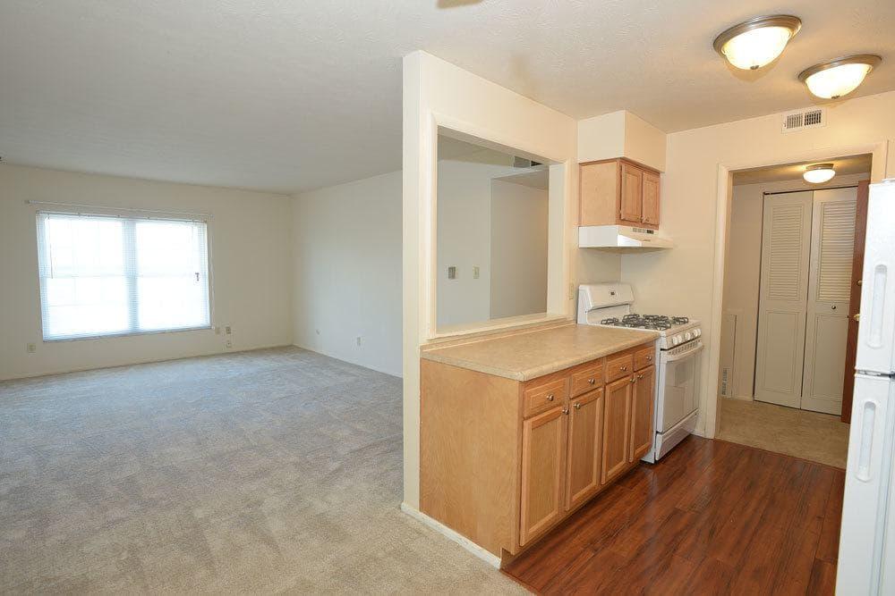 Kitchen and living room at The Edge At Arlington