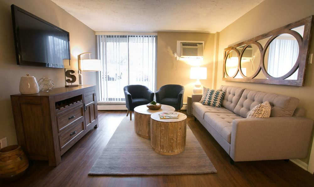 Model Living Room at Solon Club Apartments in Oakwood Village