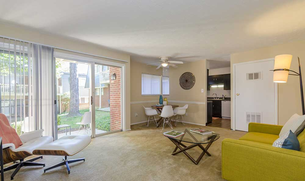 Open living room at One Hundred Chevy Chase
