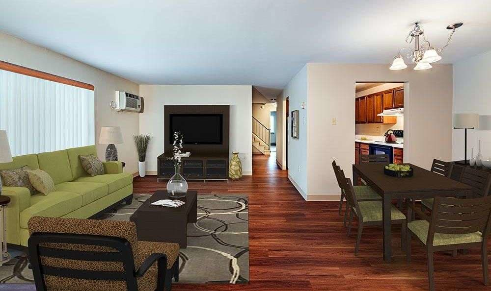 Beautifully designed living room at Maiden Bridge and Canongate Apartments in Pittsburgh