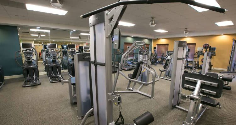 Fitness center at The Drake Apartments