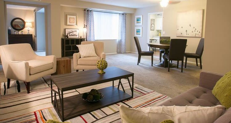 Well-decorated living room at Deville Apartments in Beachwood