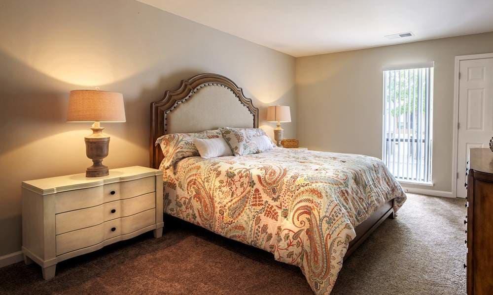 Comfortable bed at Nineteen North Apartments
