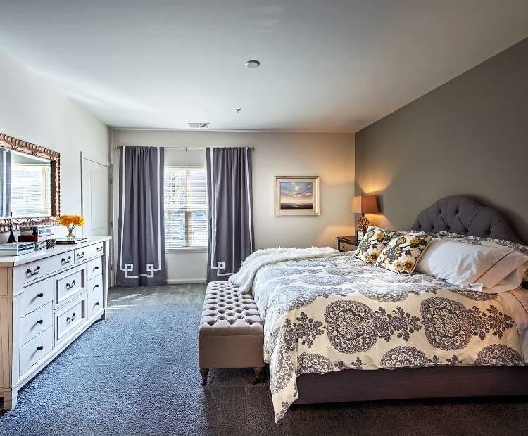 Well decorated bedroom at Eden Square Apartments in Cranberry Township, PA