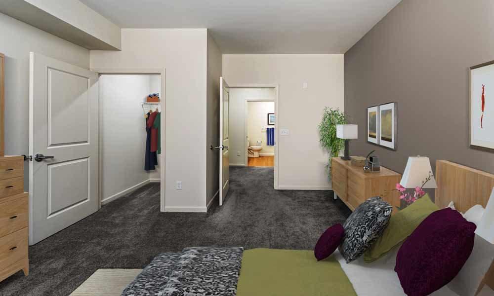 Closet in bedroom at Eden Square Apartments