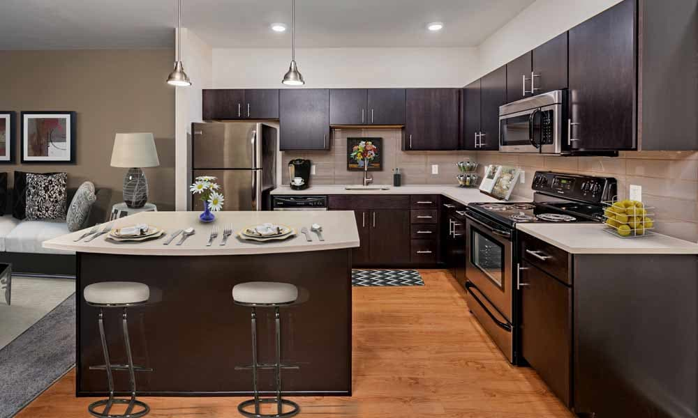 Modern kitchen at Eden Square Apartments