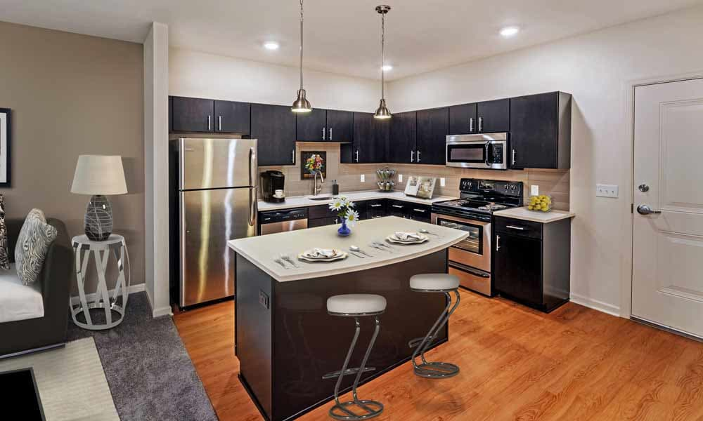 Full-equipped kitchen at Eden Square Apartments