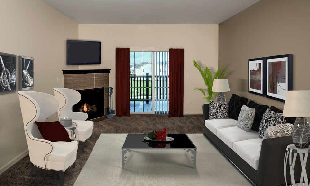 Spacious living room at Eden Square Apartments