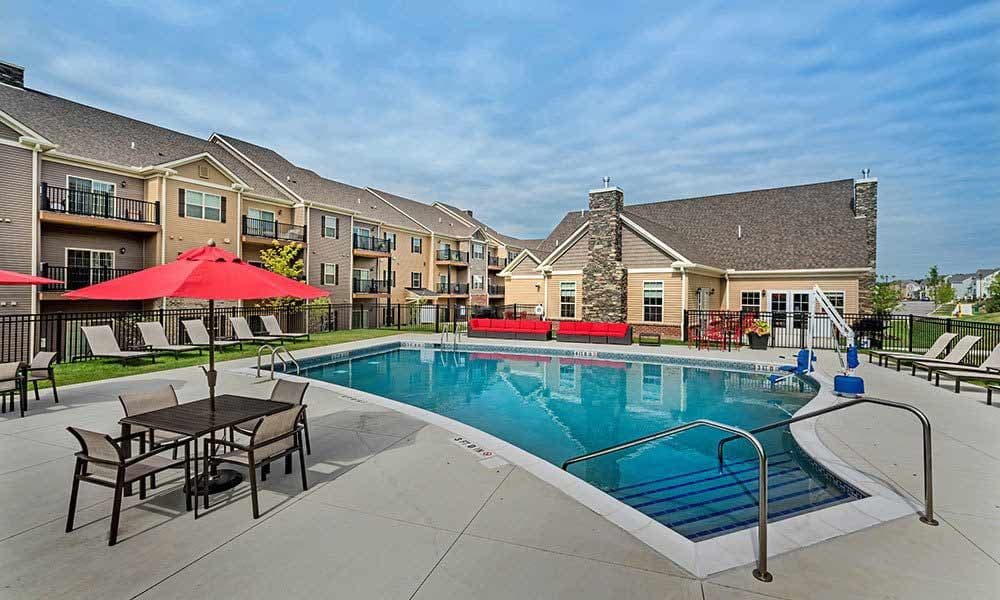 Sparkling swimming pool at Eden Square Apartments