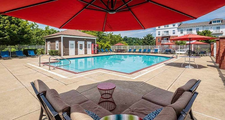 Swimming pool at The Waterfront Apartments in Munhall, PA