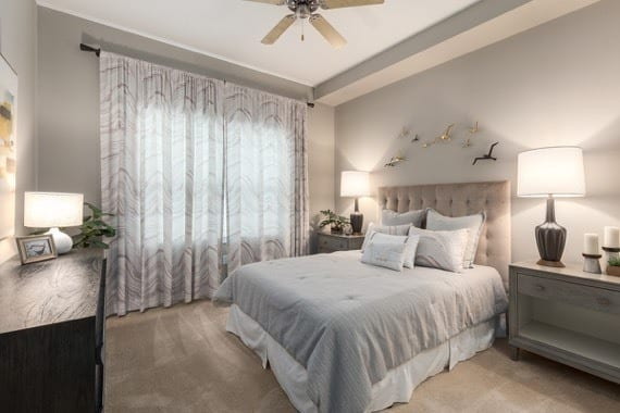 Model bedroom at CitySide Apartments in Sarasota, FL
