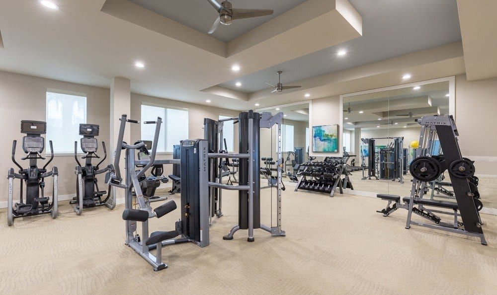 Fitness center at CitySide Apartments