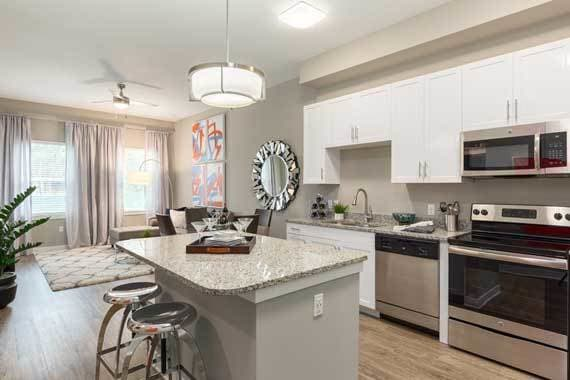 Bright kitchen at CitySide Apartments in Sarasota  FL. Rosemary District Sarasota  FL Apartments for Rent near Downtown