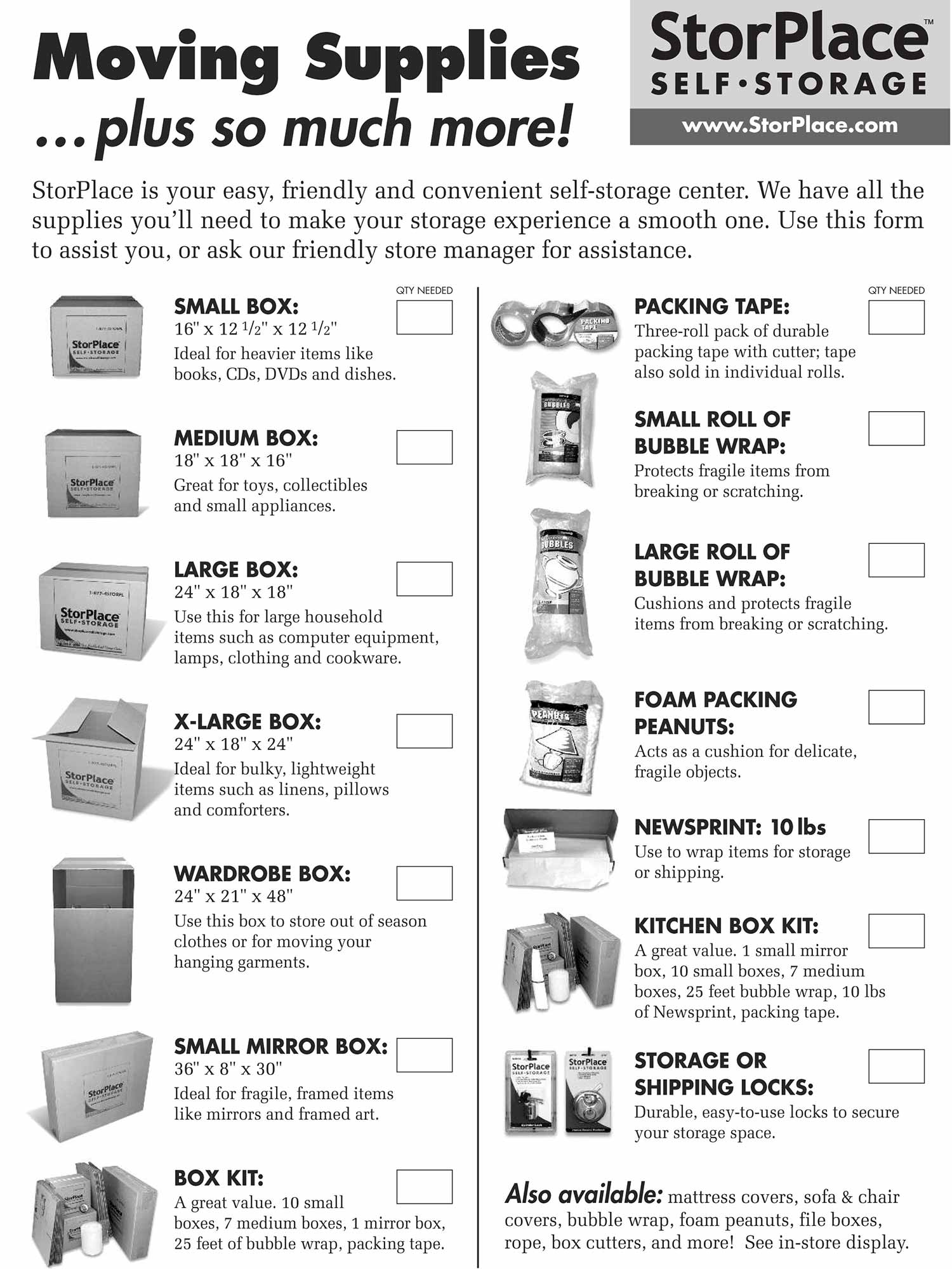 Moving supplies checklist