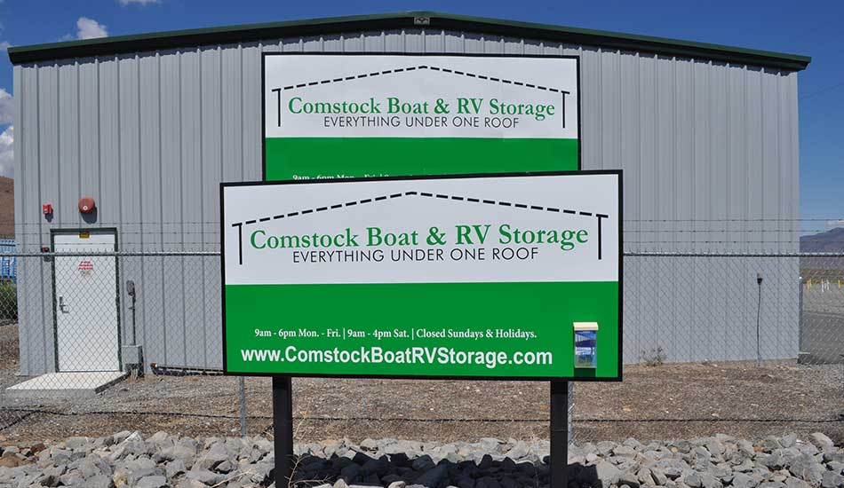 Comstock Boat and RV Storage entrance sign