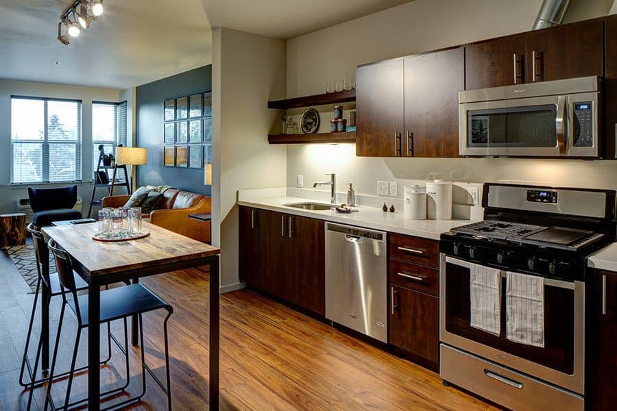Model kitchen at Northwood Apartments in Portland