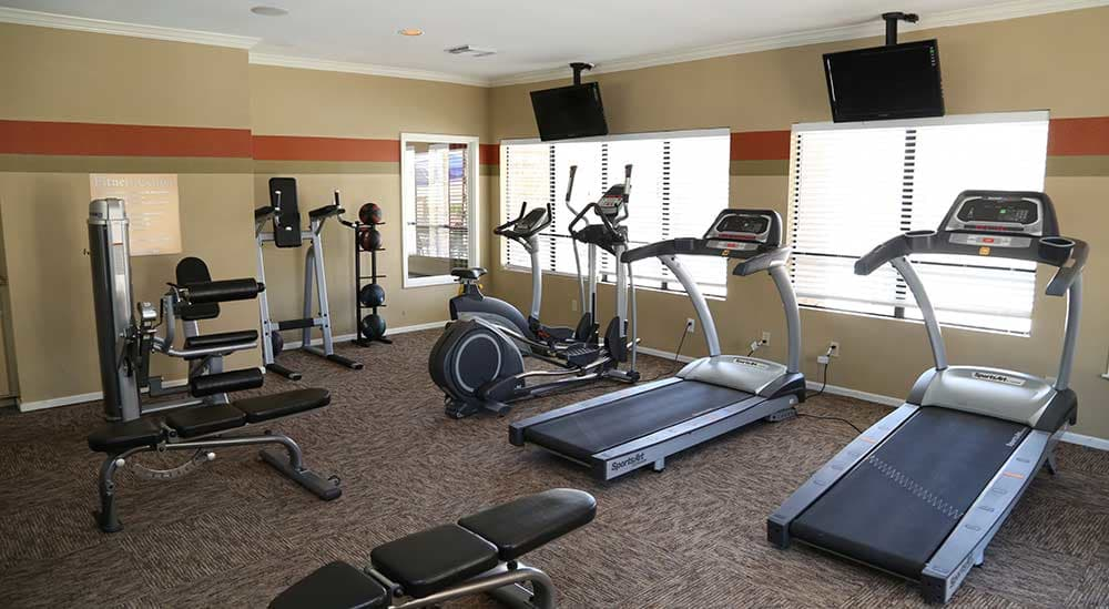 The gym at Meridian Apartment Homes offers a lot of different kinds of equipment for residents.