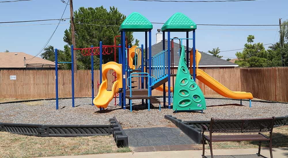 The playground at Meridian Apartment Homes is full of excitement for kids.
