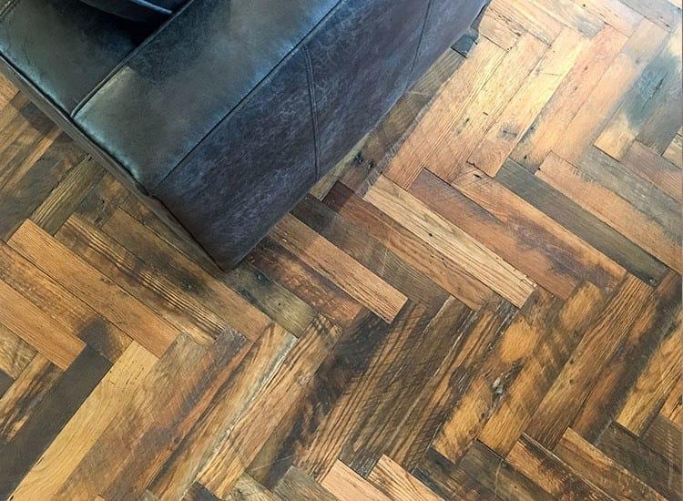 Reclaimed wood floor found at Alta Warp + Weft in Charlotte, North Carolina