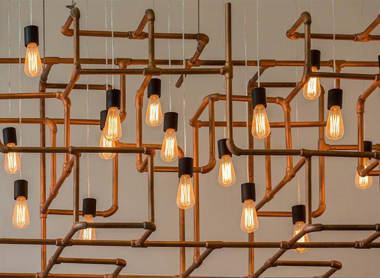 Edison bulb light fixture at Alta Warp + Weft in Charlotte, North Carolina