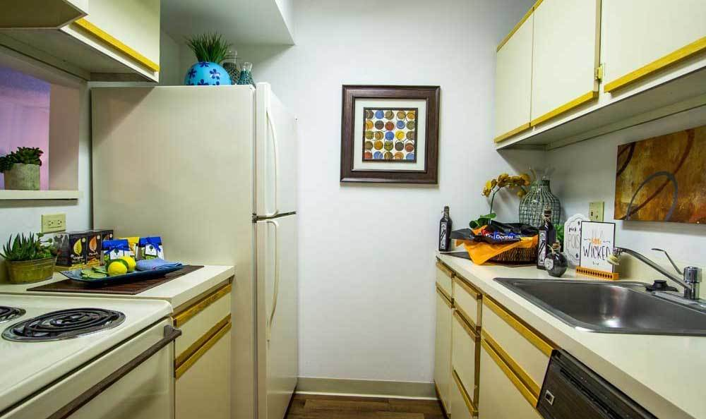 Galley kitchen at Knollwood Apartments