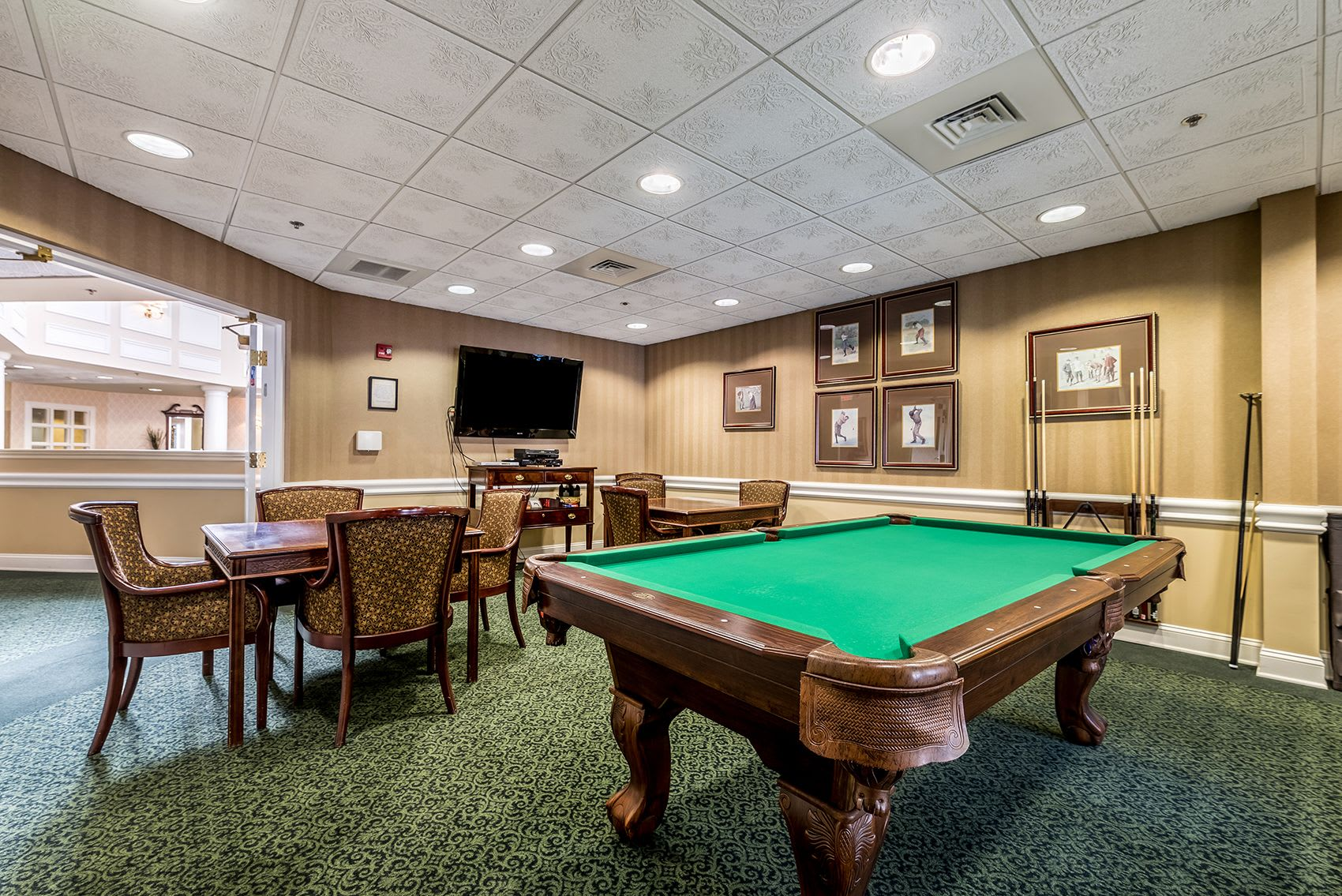 lounge with pool table and seating