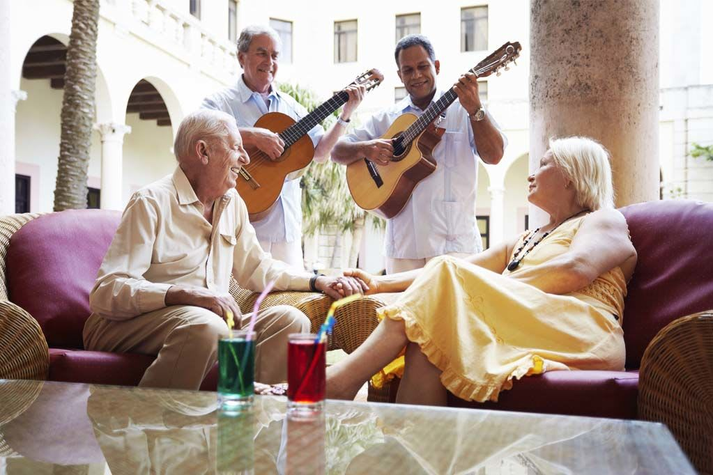 Older couple enjoying each others company at Discovery Senior Living in Bonita Springs