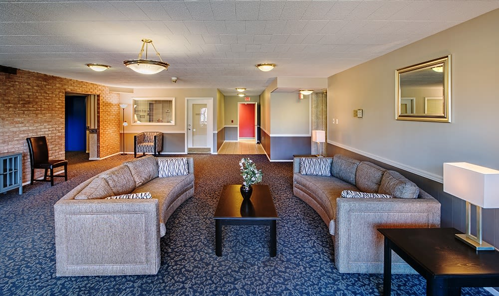 Clubhouse couches at Avalon Arms Apartments in Avalon