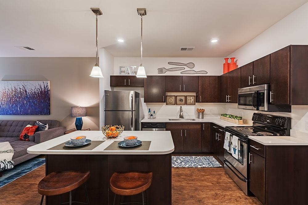 Stainless-steel appliances at apartments in Aliquippa, Pennsylvania