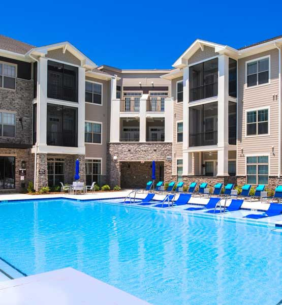 Pool at our apartments in Huntersville, NC