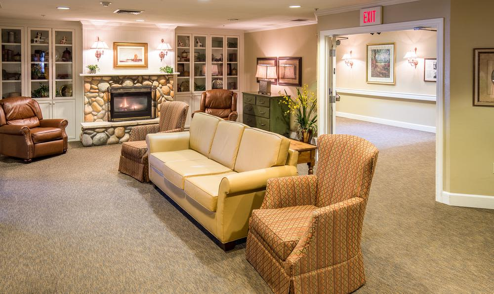 Living room at Cedar Crest Alzheimer's Special Care Center in Tualatin, Oregon