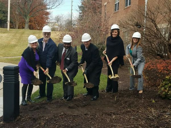 staff members breaking ground at Tranquillity at Fredericktowne in Frederick, Maryland.
