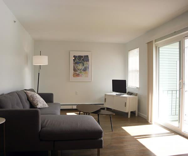 Living room at the Oak at Island Creek Village in Duxbury, MA