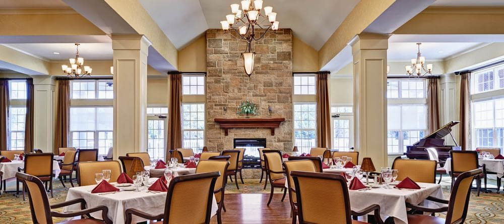 Dining area at Waltonwood Providence in Charlotte, NC