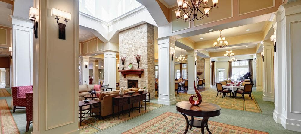 Entrance area at Waltonwood Providence in Charlotte, NC