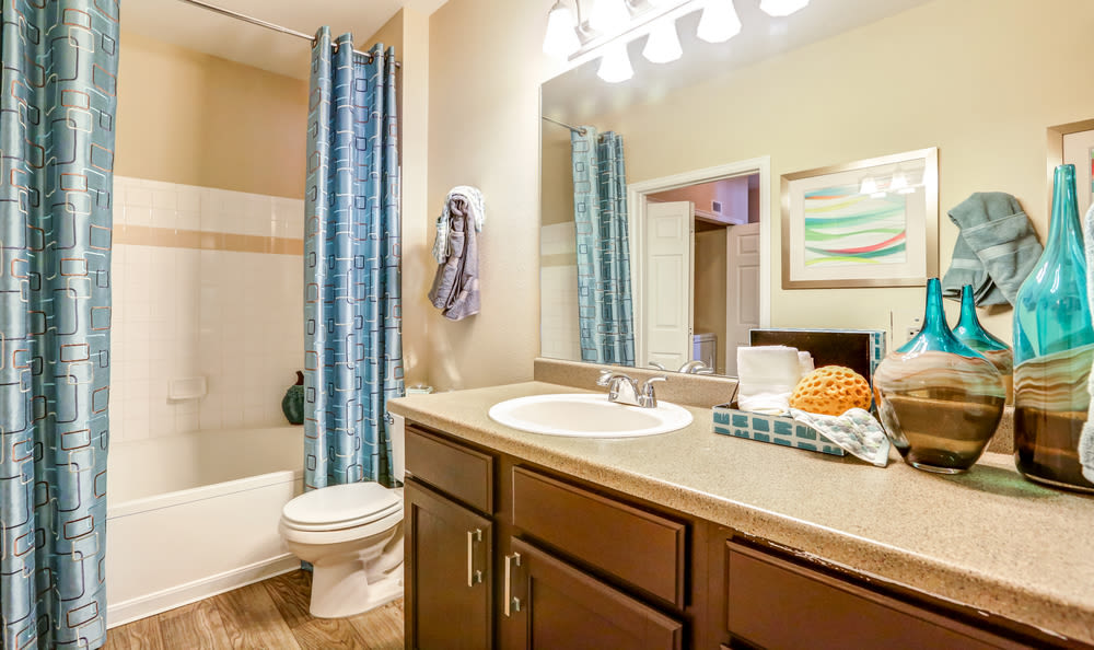 Skyecrest Apartments has a magnificent bathroom and tub