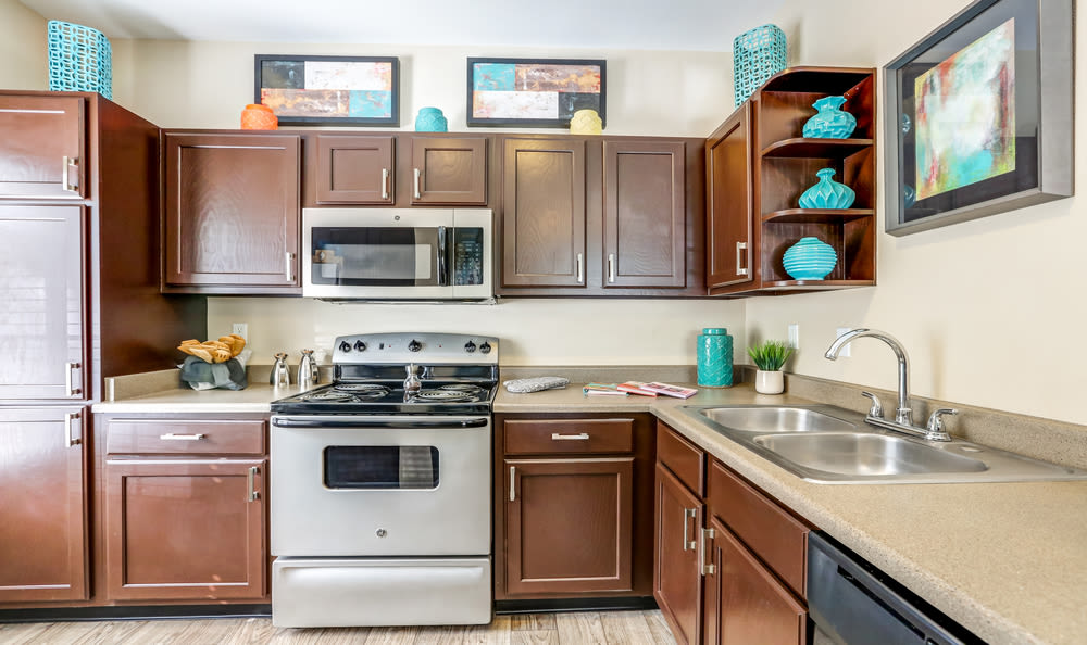 Brown Renovated Model Kitchen at Skyecrest Apartments