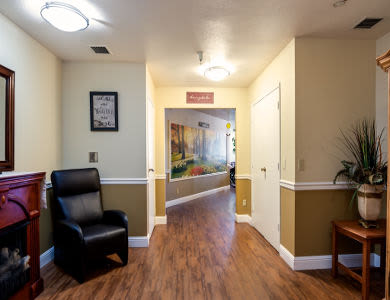 Waiting room at Valley Crest Memory Care in Apple Valley, CA